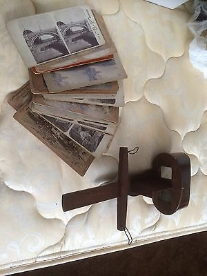 Vintage Wood Stereo Scope With 23 Cards Some BP