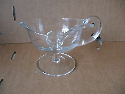 Vintage Retro Footed Glass Gravy Sauce Jug Boat With Glass Ladle