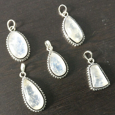 Wholesale 5Pc Natural Moonstone Silver Plated Pendant Jewelry Lot