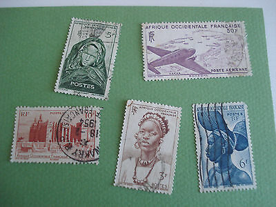 Lot 5 Timbres Afrique Occidentale Francaise