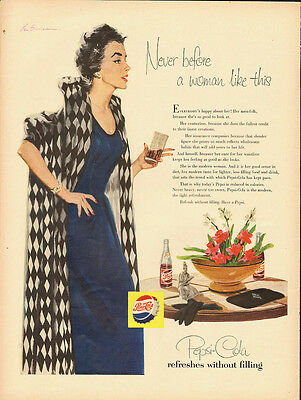 1955 Vintage ad for Pepsi-Cola/Art/Model/Sexy (072013)
