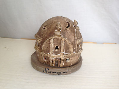 Vintage HOBBIT House CLAY Hand Made GENIE Lamp made in Nicaragua 1980's Rare