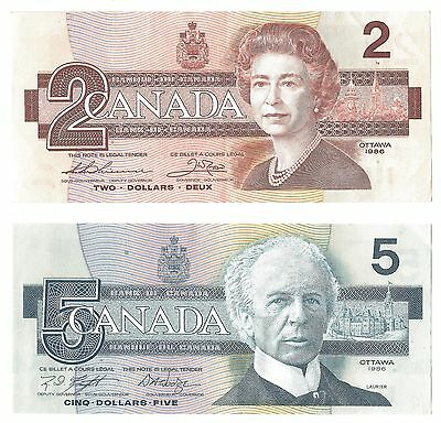 Two Canadian notes, 2$ and 5$ high grade Lot C109