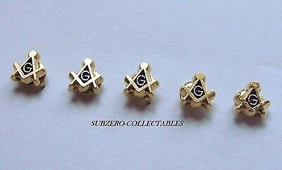 ( 5x ) TINY Masonic 5mm Pin Badge / Gold Plated Square & Compass G, Lapel Gift