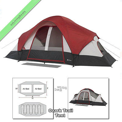 16x8' Ozark Trail Tent 8 Person 2 Room Outdoor Family Camping Dome Tents, Maroon
