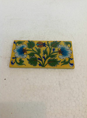 Vintage Blue Pottery Hand Painted Rectangular Floral Printed Art Wall Tile