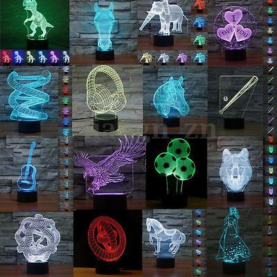 3D LED Night Light 7 Color Touch Switch Table Desk Lamp Christmas Birthday Gift