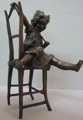 Statue Sculpture Cat Daughter Art Deco Style Art Nouveau Style Bronze Signed
