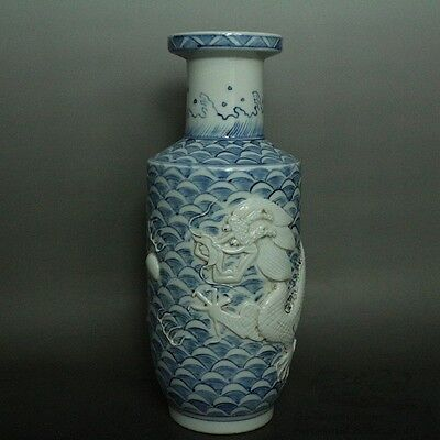 Blue and White Beautiful Chinese Porcelain Carved Dragon Vase