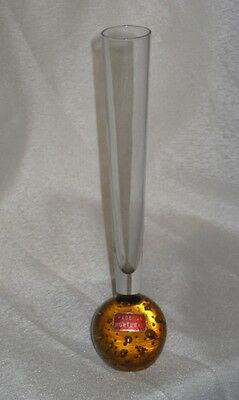 Vintage Retro amber Controlled Bubble bulb stem vase Glass lmade in Portugal