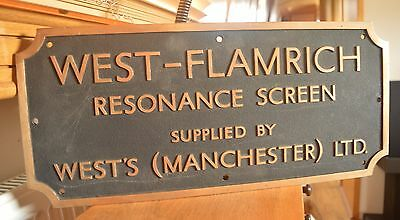 Large Vintage Brass West Flamrich Manchester Sign Mining Resonance Screen