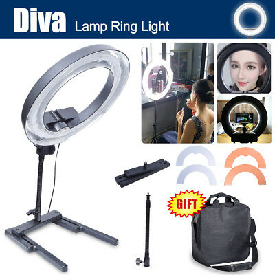 Dimmable Diva 400W 34cm Table Top Ring Light + Color Filter Makeup Selfie Video