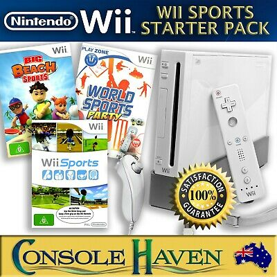 Nintendo Wii White Wii Sports Starter Pack Console Bundle with 3 Games & more