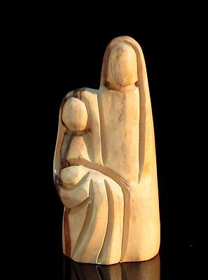 Modern Olive Wood  Holy Family Statue