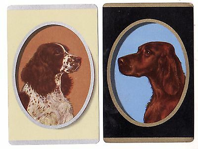 DOGS :  OVAL PORTRAITS GOLD & SILVER DETAIL Pair of Single Vintage Playing Cards