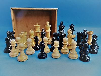 Large Fine Antique Vintage Weighted Staunton Chess Set