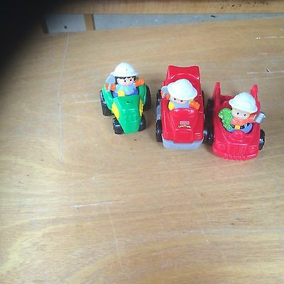 6 peices little people tractor and trucks