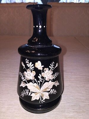 Beautiful Black Amethyst Art Glass Vase with Hand Painted Flowers