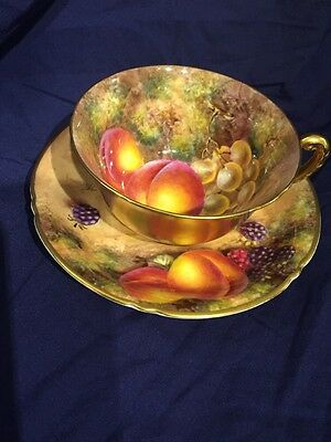 Royal Worcester Cup And Saucer Hand Painted With Fruit Signed J Freeman