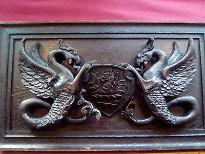 Ancient / Old Handmade Carved Dragon Plaque