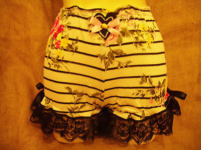Black white stripe floral print bloomers,black lace,heart!Pin-up,1950's,vintage!