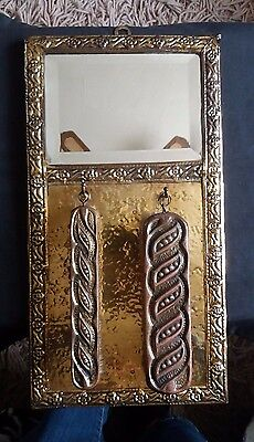 Vintage Brass Hammered Grooming Set.Mirror & 2 Clothes Brushes. Prop