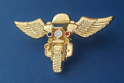 GOLD POLICE MOTORCYCLE WING PIN.. Pin Back Attachment