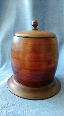 Treen Antique Turned Barrel Tobacco Spice Jar With Lid