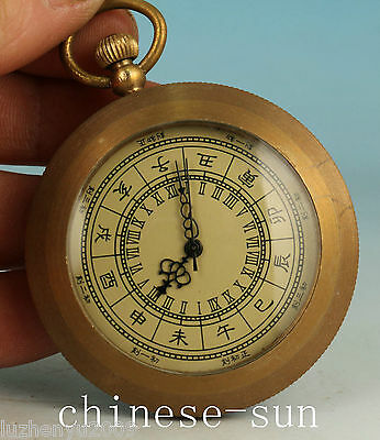 Noble Chinese Old Bronze Handmade Ancient machinery pocket watch Art