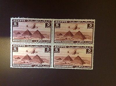 Egypt 1941 5m Red Air SG285 MH/MNH Block of 4
