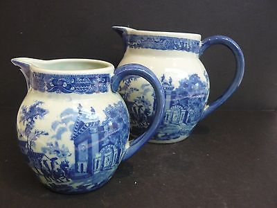 2 x Large Transferware Flow Blue Style Jugs Marked Victoria Ware Ironstone