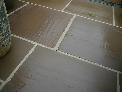 Natural Indian Sandstone Patio Paving Slabs Autumn Brown Garden Pavers 1 SQM