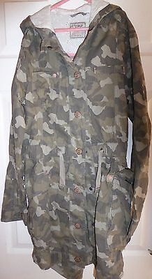 Girls Next army style camouflage parka rain mac age 13-14 years