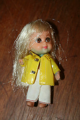 Vintage Kiddle Doll Rubber Body And Face Raincoat And Cotton Pants Original
