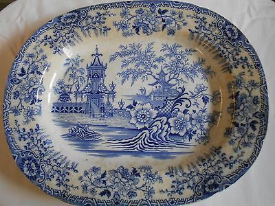 """Large  18"""" Blue And White Platter Chinese Landscape Scenes Platter Circ !850"""