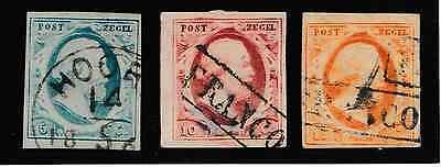 Nederland 1-3 Willem III 1852; First series of stamps from the Netherlands