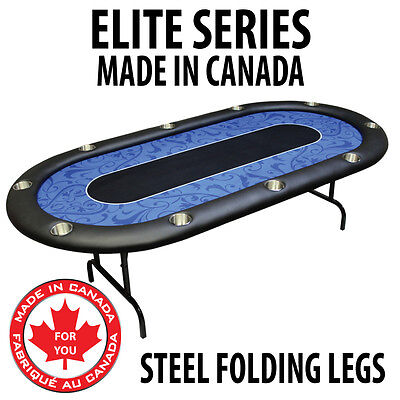 POKER TABLE SPS ELITE - Blue Full Bumper Table With Steel Folding Legs