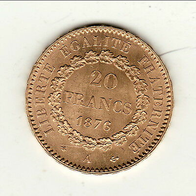 Brillant Frappe  20 Francs Or/ Gold Type Genie 1876 A