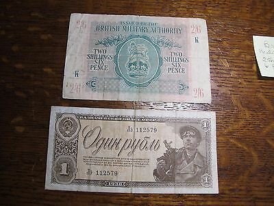 Military Banknotes: 1938 Russia 1 Ruble, 1943 Great Britain 2 Shillings 6 Pence