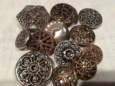 Lot 11 Vintage Gold/silver Metal Twinkle / Mirror Back Buttons