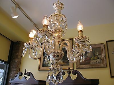 Vintage Chandelier Bohemia Czech Cut-To-Clear+Hand Painted Florals - Wonderful