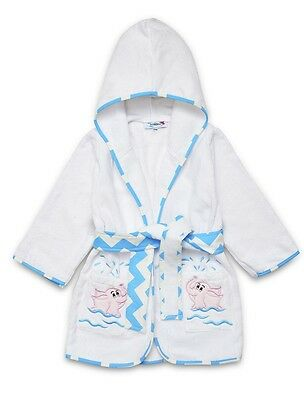 "Baby   "" Pink Elephant"" Applique Luxurious Soft 100%cotton Hooded Bathrobe."