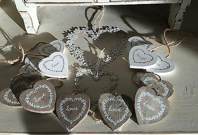 job lot of 14Hearts CHRISTMAS Vintage Wedding Favours wish Tree gift SHABBY CHIC