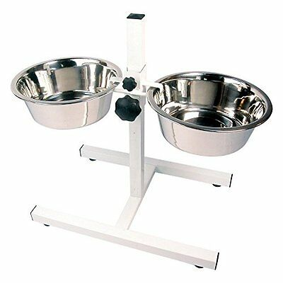 Adjustable Double Stainless Steel Dog Bowls With Stand