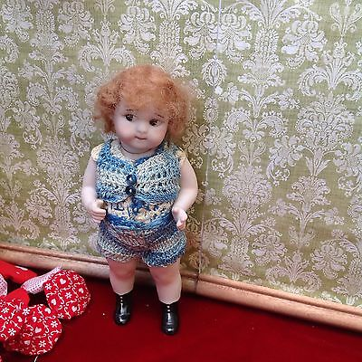 """Artist Repro Antique All Bisque Doll Googly Googlie 6"""" Hand Painted Side Glance"""
