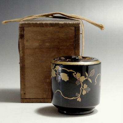 NATSUME Antique Japanese Lacquered Tea Caddy w/box #2117