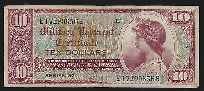 US Military Payment Certificates $10 Dollars Series 521