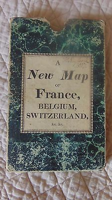 1827 A New Map Of France, Belgium & Switzerland Backed On Thick Linen