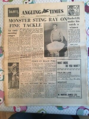 Vintage Angling Times Friday September 28 1962 Rare Item