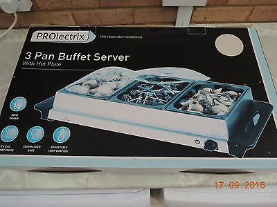prolectrix 3 pan buffet server with hot plate